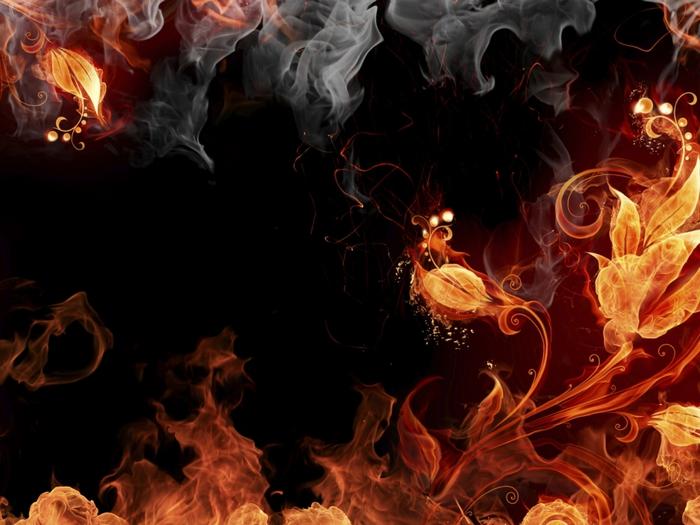 Абстракции, огонь, дым, фотошоп, лоза, листья, темный фон, креатив, красиво.