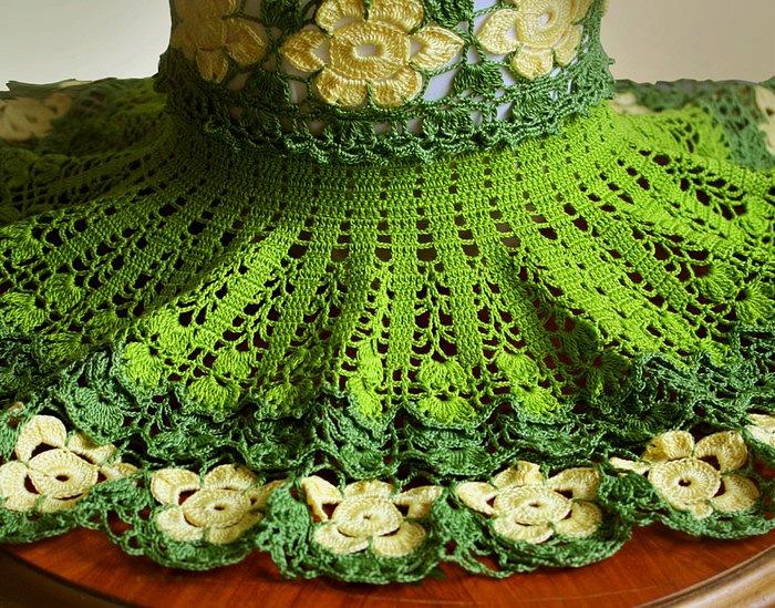 Уникальное вязаное цветочное платье для девочки.,, (700x549, 194Kb)