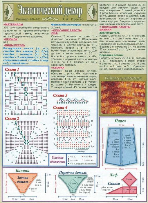 вязаные слитные купальники описание вязание