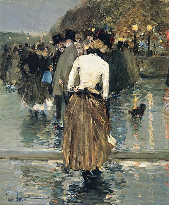 Frederick Childe Hassam.Promenade At Sunset Paris  (577x700, 529Kb)