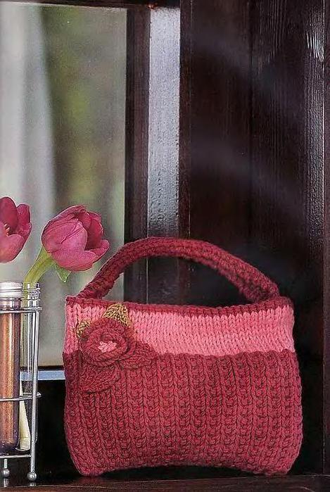 Сумка с цветком Вязание спицами.