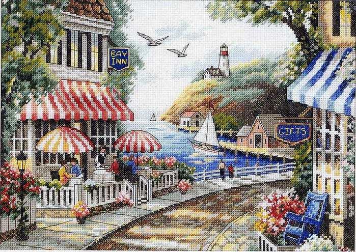 Кафе у моря Cafe by the Sea (35157) набор для вышивки Dimensions (фото) .