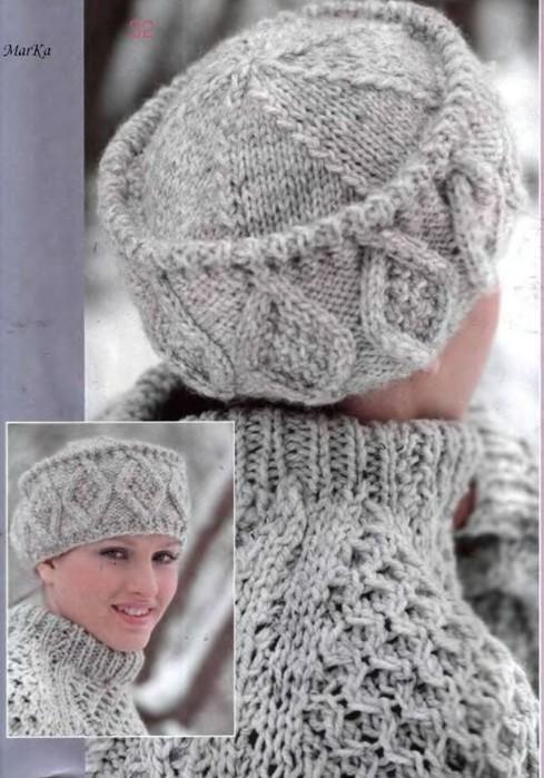 """Шапка  """"Снежная королева """": вязание спицами."""
