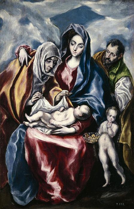 Эль Греко - Святое семейство со святой Анной и маленьким Иоанном Крестителем (1600 - 16005)