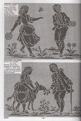 филейное вязание античные сюжеты хвойные растения для