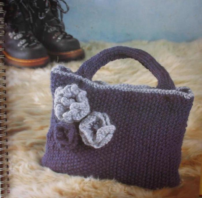 вязаная сумка на зиму схемы, описание фотографии - Сумки.