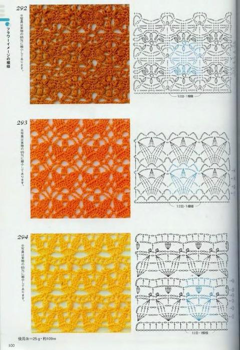 Образцы ажурных узоров для вязания крючком 684
