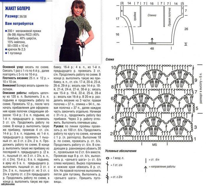 Вязание болеро фото схемы описание