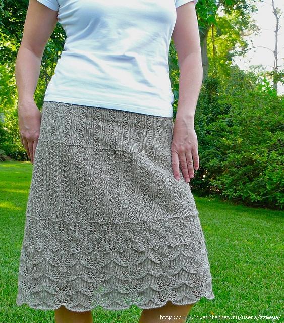 Схема юбки спицами по косой