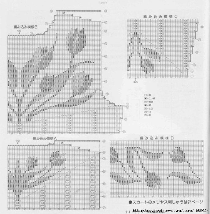 Интарсия вязание модели схемы 4
