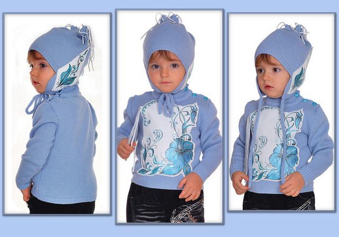 Вязание для детей: детская кофточка с кожаными вставками и шапка.