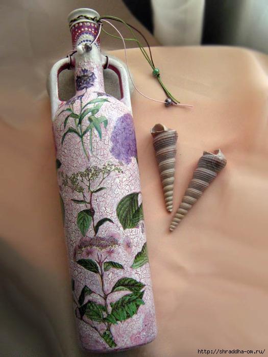декоративная бутылка, декупаж, кракелюр, акрил, Shraddha 1 (525x700, 207Kb)