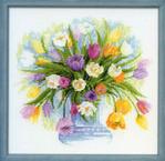 """Схема вышивки крестом натюрморта  """"Акварельные тюльпаны """" от Риолис.  Маленькие и нежные, любимые многими цветы очень..."""