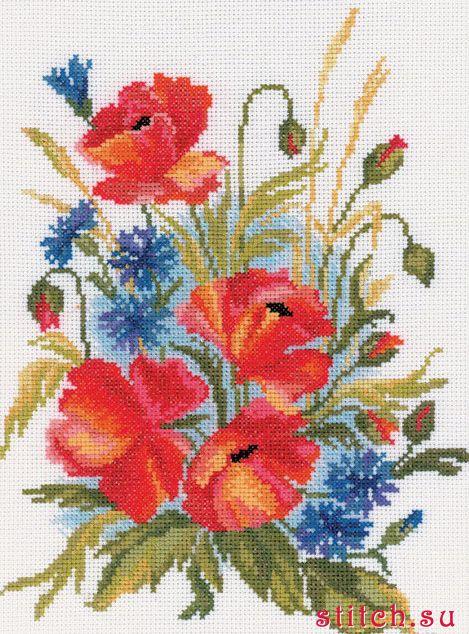 Маки и васильки ,Цветы,РТО,Наборы для вышивания,маки,счетный крест.  Рукоделие.
