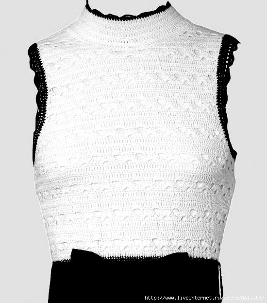 Платье крючком белое и черное