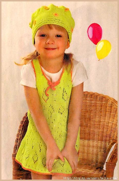Ажурное платье и берет для девочки.  Схема вязания очень симпатичного платья для девочки 3-5 лет.