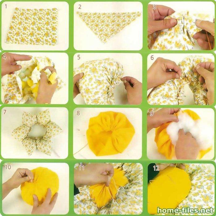 Шаг 22-23: Подбрать 6 крупных пуговиц и... Порядок работы.  Эту симпатичную подушку-цветок из лоскутков можно сшить...