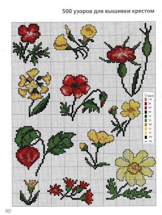 Вышивка крестом картинки маленькие цветы 2