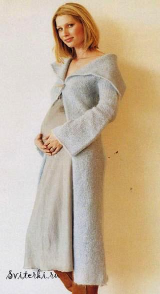 Длинное вязаное пальто с воротником-шалькой.  Это уютное вязаное пальто, связанное из мягкого и теплого мохера...