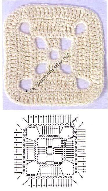 Выполненные крючком квадратные мотивы используются при вязании не только различной одежды, но и в вязании для дома...