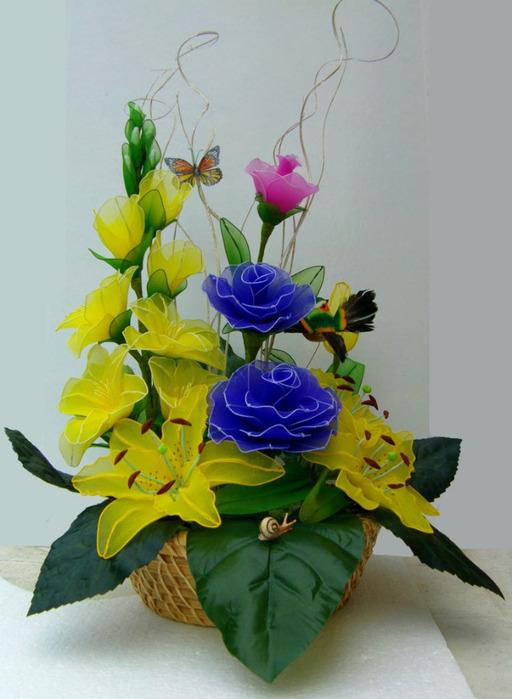 Розы лилии орхидеи из капрона