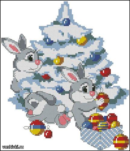 рождественские кролики (431x500, 61Kb)