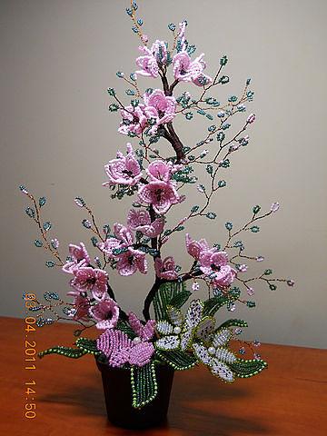 схем цветов из бисера,