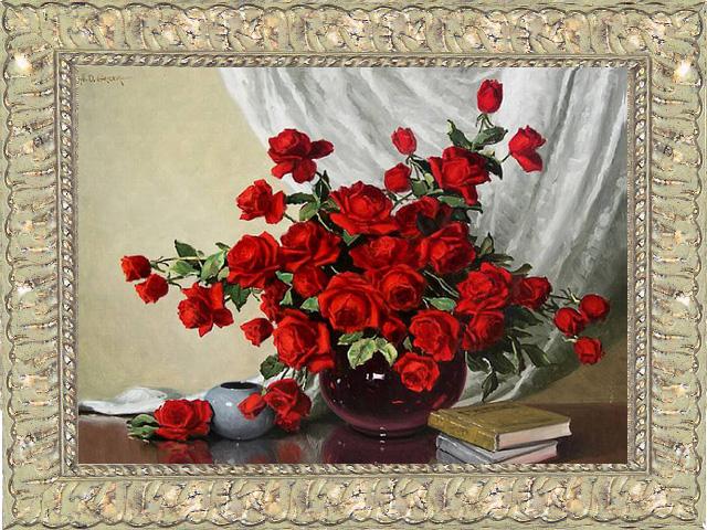 Красный букет вышивка