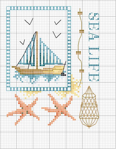 Морские схема вышивки