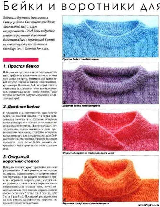 Вязание круглой горловина свитера