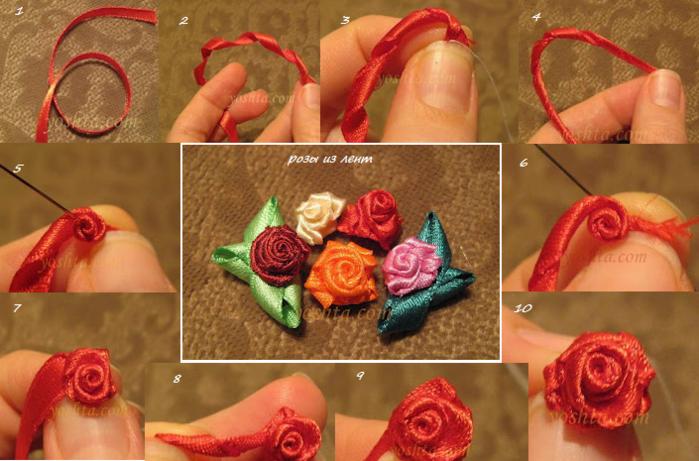 Розы из лент своими руками пошаговое канзаши