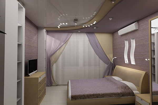 Дизайн спальни сиреневого цвета фото