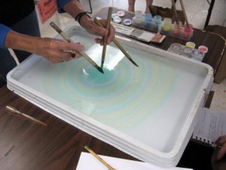 Техника эбру и суминагаши - рисование на воде. Рисование и живопись./4395419_18 (450x338, 50Kb)