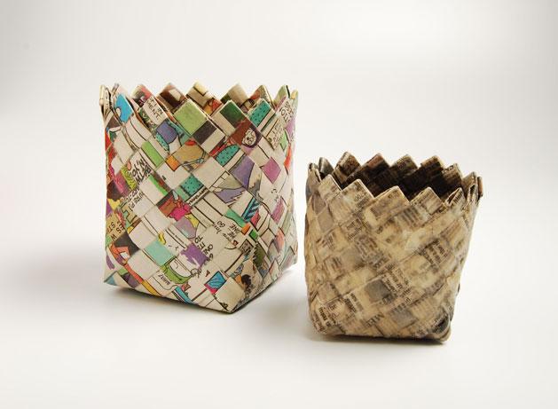 Плетеная корзинки из бумаги своими руками