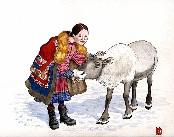 """Оригинал - Схема вышивки  """"Девочка с оленем """" - Схемы автора  """"Elena """" - Вышивка крестом."""