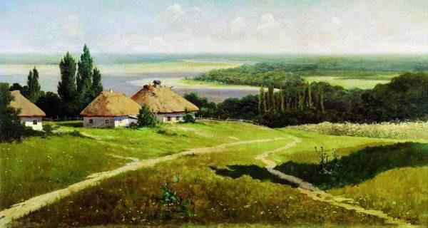 Украинский пейзаж с хатами 1901 (600x320, 48Kb)