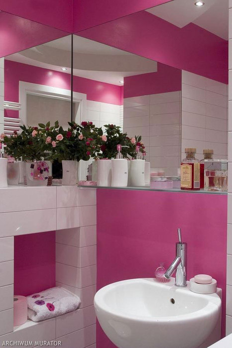Дизайн ванной в розовом цвете