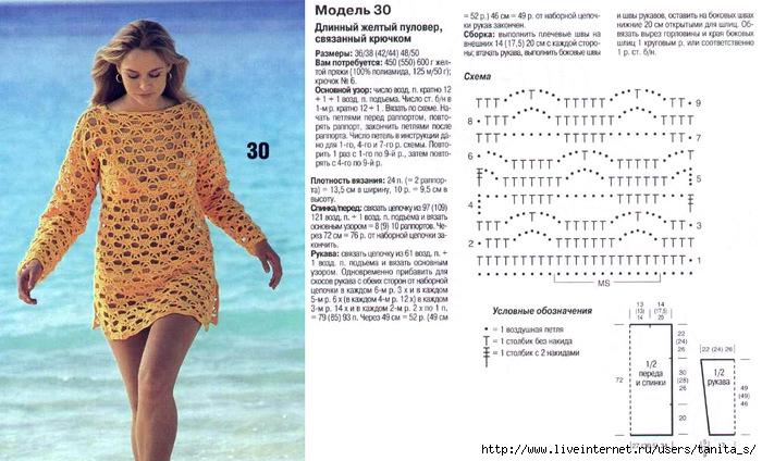 Пляжные туники крючком схемы и описание на лето 2015 год