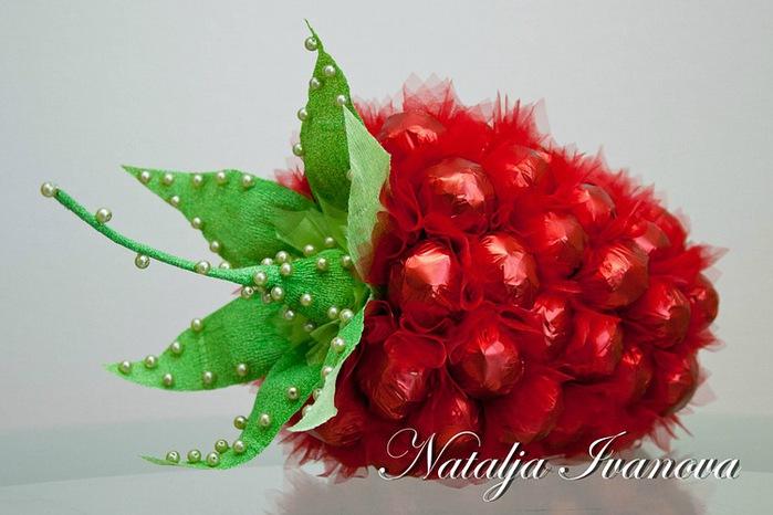 Сердце из бумаги розы