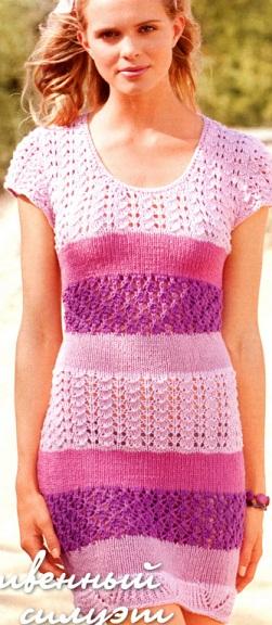 <летнее платье спицами схема