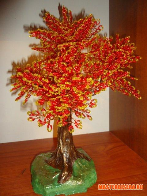 """Плетение из бисера бабочек (описание и схемы плетения).  МК деревца  """"Золотая осень """" ."""