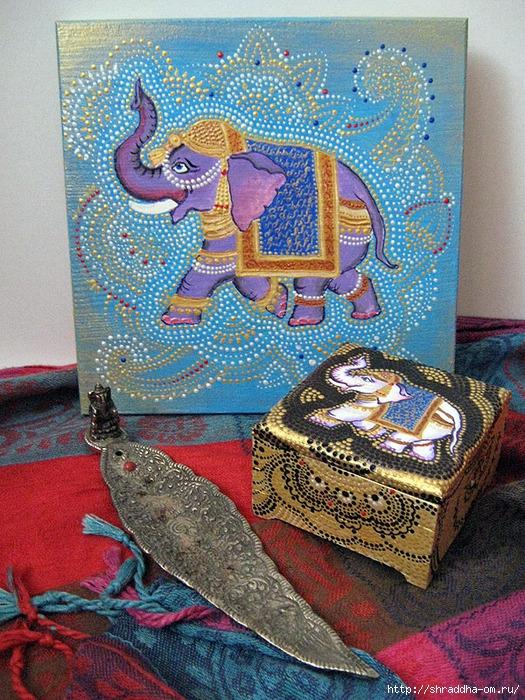 шкатулка и досточка Слоны, акрил, автор Shraddha, 1 (525x700, 421Kb)
