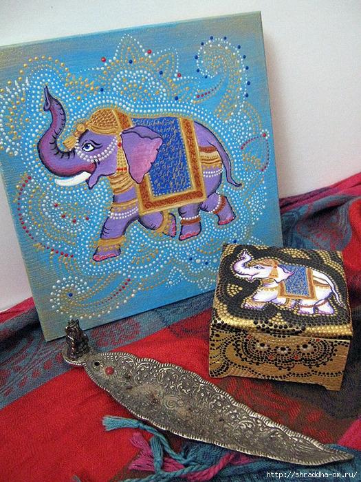 шкатулка и досточка Слоны, акрил, автор Shraddha, 2 (525x700, 422Kb)