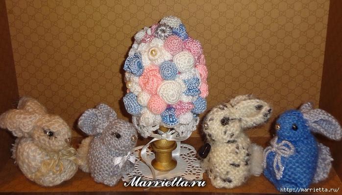 кролики и пасхальное яйцо в вязаных цветочках (8) (700x397, 245Kb)