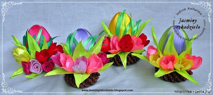 Шелковые пасхальные яйца с цветочками канзаши (16) (700x311, 212Kb)
