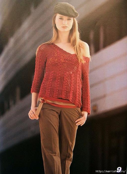 Летняя блуза с длинным рукавом крючком (2) (510x700, 244Kb)
