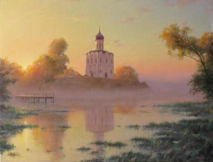 1. Дмитриев Георгий. Утро. Храм Покрова на Нерли (700x535, 355Kb)