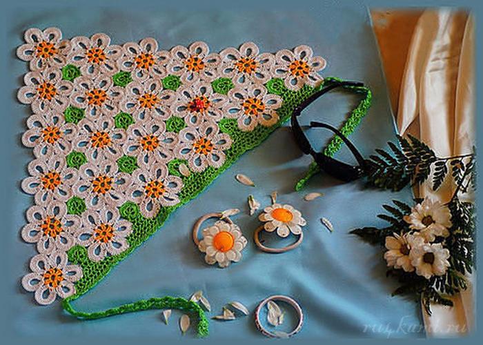 косынка крючком схема - Самое