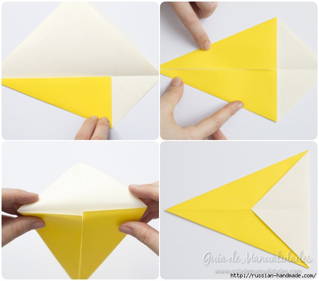 Как сложить ПТИЧКУ в технике оригами (4) (626x550, 129Kb)