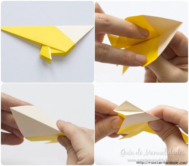 Как сложить ПТИЧКУ в технике оригами (8) (626x550, 141Kb)